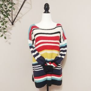 LIGHT LOOSE CHUNKY CROCHET KNIT COLORFUL SWEATER